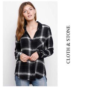 Cloth & Stone Plaid Flannel Fray Hem Button Shirt
